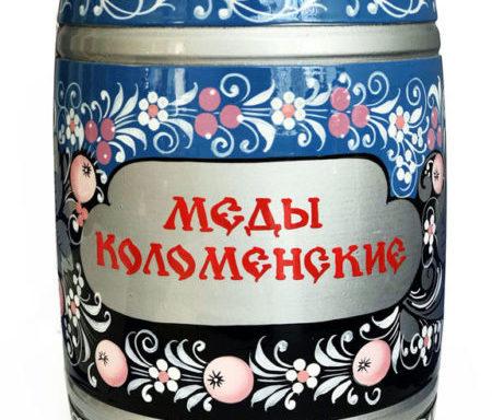 Бочонок деревянный с мёдом «Хохлома голубая» 1,5 кг