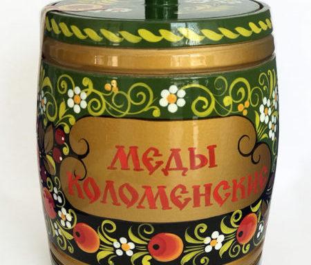 Бочонок деревянный с мёдом «Хохлома голубая» 0,8 кг