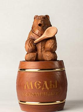 Бочонок деревянный с медведем на крышке 0.5 кг