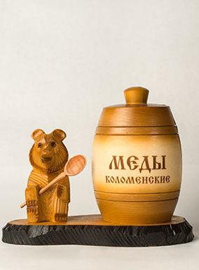 Бочонок деревянный с медведем на подставке 1 кг