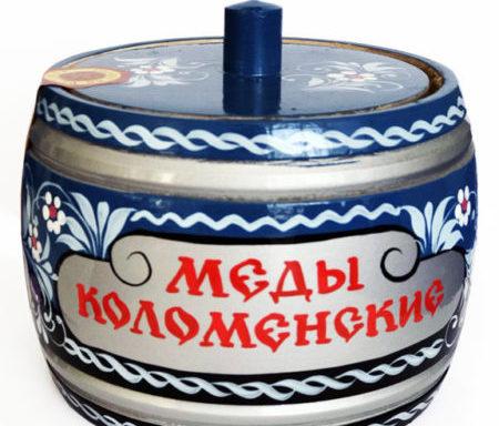 """Бочонок деревянный с мёдом """"Хохлома голубая"""" 0,5 кг"""