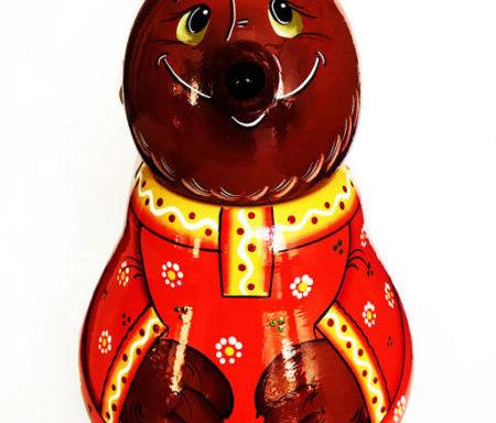 """Бочонок деревянный с мёдом """"Медведь"""" 0,7 кг"""