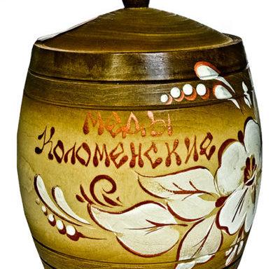 """Бочонок расписной """"Цветы"""" с мёдом 1 кг"""